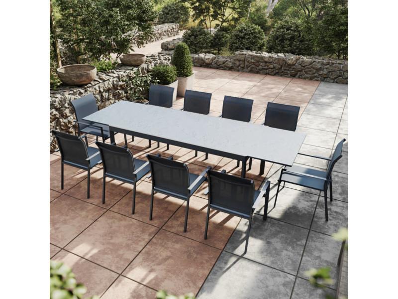 Table de jardin extensible aluminium anthracite 200/300cm + 10 fauteuils empilables textilène - arona