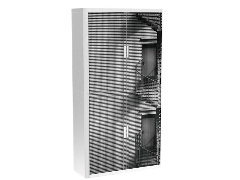 Armoire de bureau métalique porte coulissante h 2m - escalier