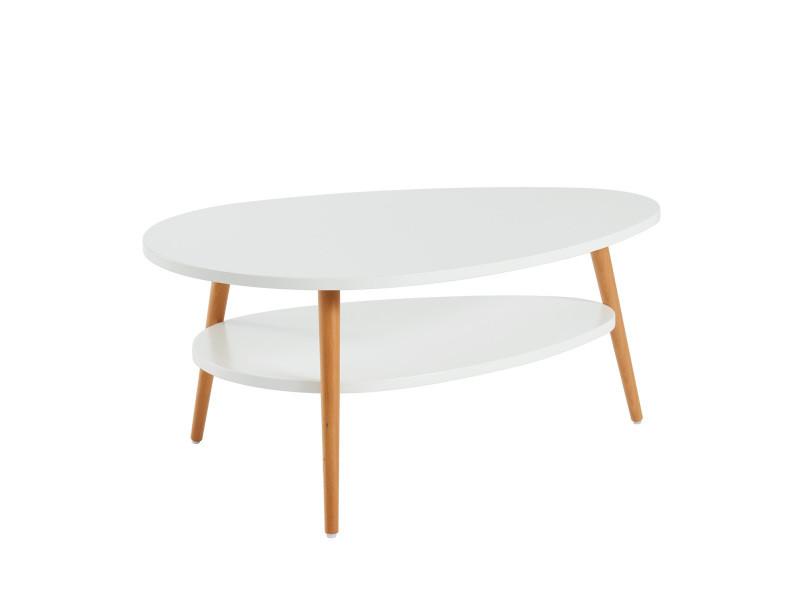 Table basse stone - laqué blanc mat - double plateau - l90cm TBSTON5BS03_112