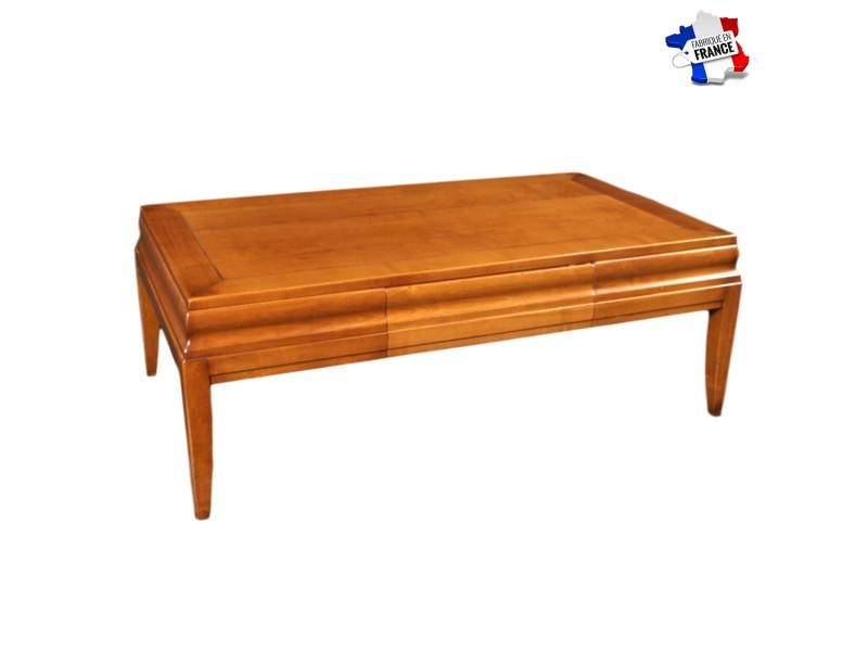 Table De Salon Avec Tiroir Bois Massif Merisier Teinte D 100 Made In France Vente De Gontier Conforama