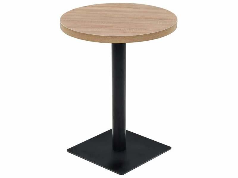Table haute mange debout bar bistrot mdf et acier rond 60 cm chêne beige helloshop26 0902109