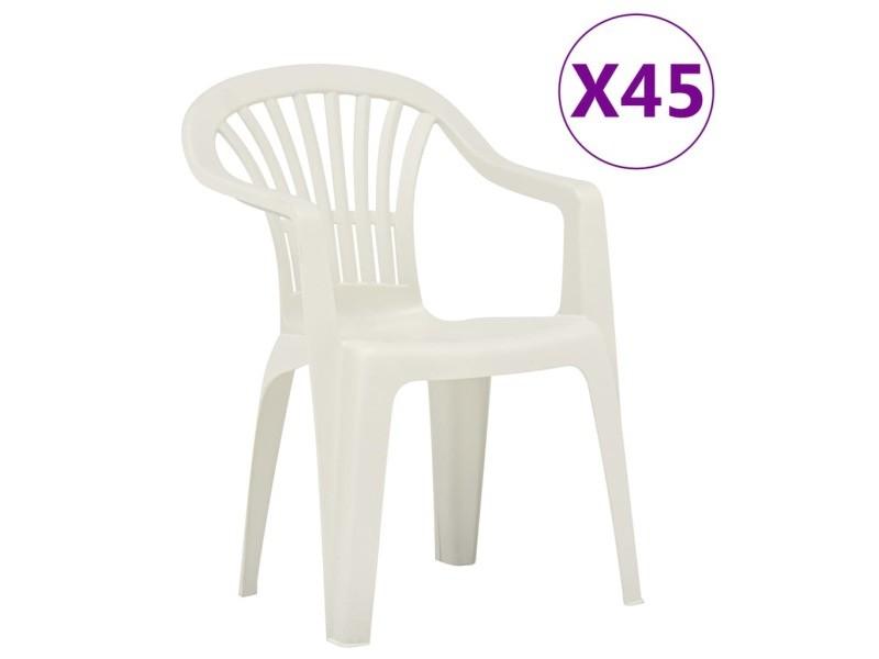 Vidaxl chaises empilables de jardin 45 pcs plastique blanc 48818