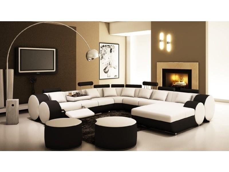 Canapé d'angle panoramique design en cuir noir et blanc relax roma-