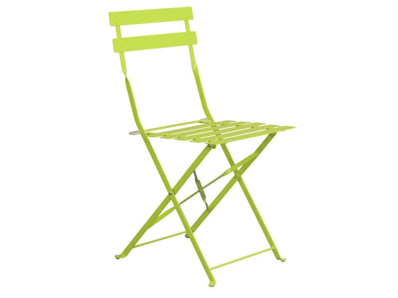 Chaise de jardin en acier époxy coloris vert anis mat - dim : 41 x 46 x 80 cm -pegane-