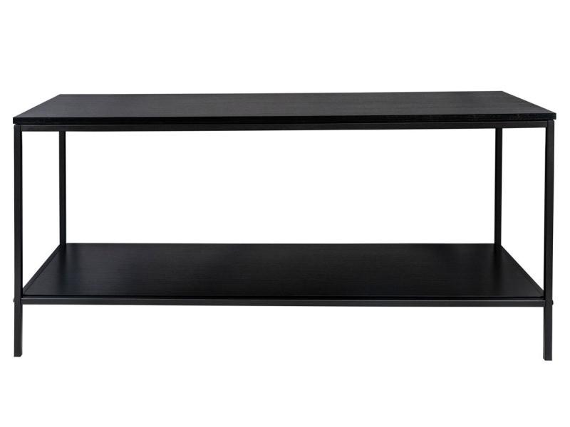 Meuble tv / table tv en acier et bois coloris noir - 100 x 36 x 45 cm -pegane-