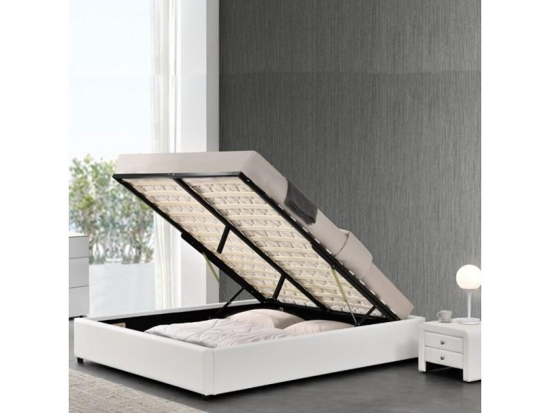 Sommier coffre de rangement room - blanc - 160x200