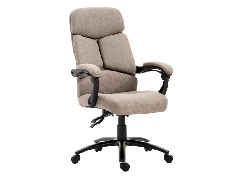 fauteuil de bureau manager grand confort inclinable hauteur rglable pivotant ergonomique revtement tissu caf chin 85 vente de homcom conforama - Alinea Fauteuil Bureau2693