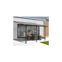 Toit de terrasse 3x5m aluminium anthracite et polycarbonate habrita