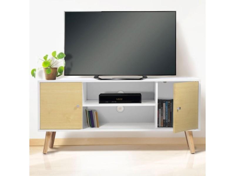 Superieur Meuble Tv Effie Scandinave Bois Blanc Et Imitation Hêtre