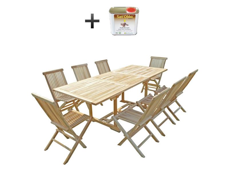 Ensemble salon de jardin en teck amara 8 chaises - bundle ...