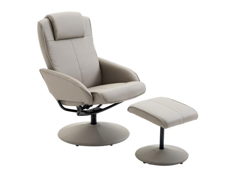 Fauteuil relax inclinable style contemporain avec repose-pieds simili cuir acier gris
