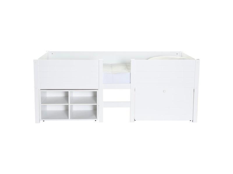 lit sur lev enfant blanc avec rangement lit sureleve school caisson blanc vente de lit enfant. Black Bedroom Furniture Sets. Home Design Ideas