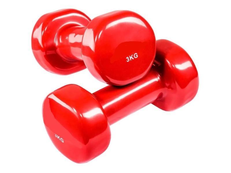 2 haltères vinyle fitness poids 2 x 3 kg sport fitness musculation helloshop26 0708025