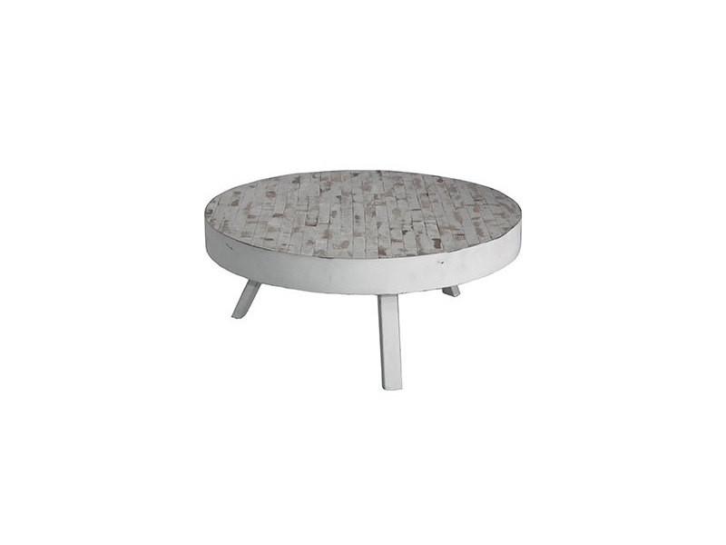 Table basse ronde 74 cm en teck recyclé blanc - st barth