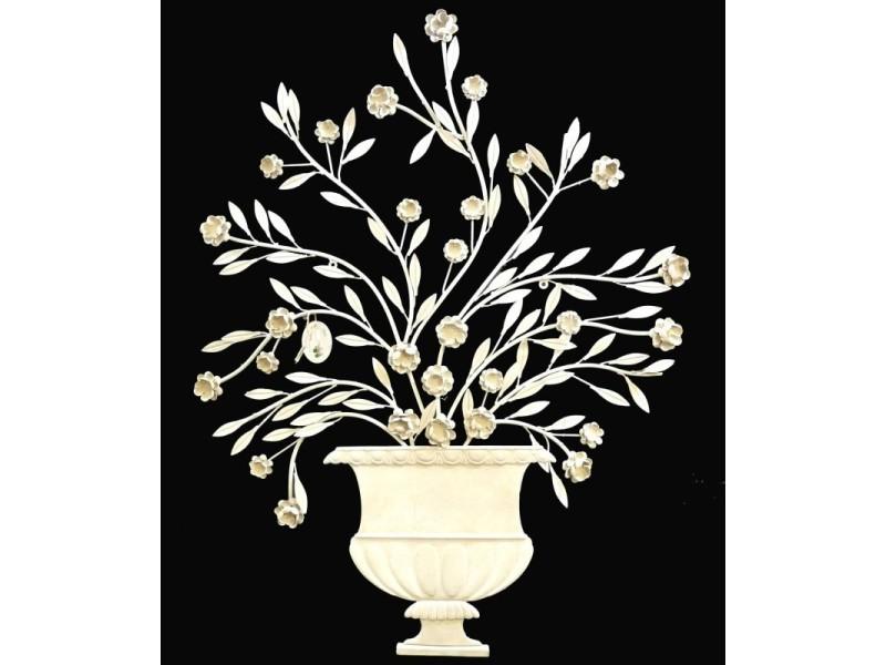 Fronton mural à poser applique décorative motifs floraux en fer