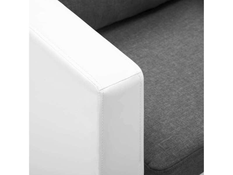 Vidaxl canapé à 3 places faux cuir blanc et gris clair 247172