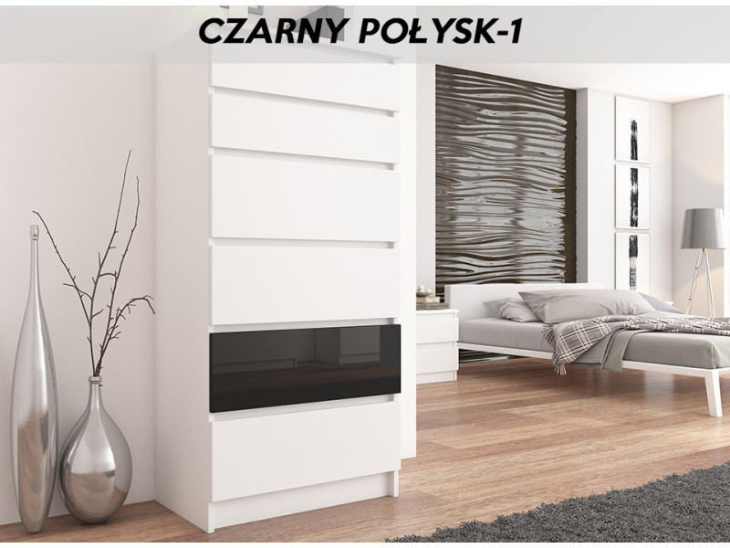 Sofia w1 | commode contemporaine chambre salon bureau | 128x70x40 | dressing 6 tiroirs | meuble de rangement scandinave | blanc/noir laqué