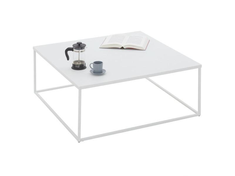 Table basse hilar table de salon grande table d'appoint design retro vintage industriel, plateau carré en métal laqué blanc