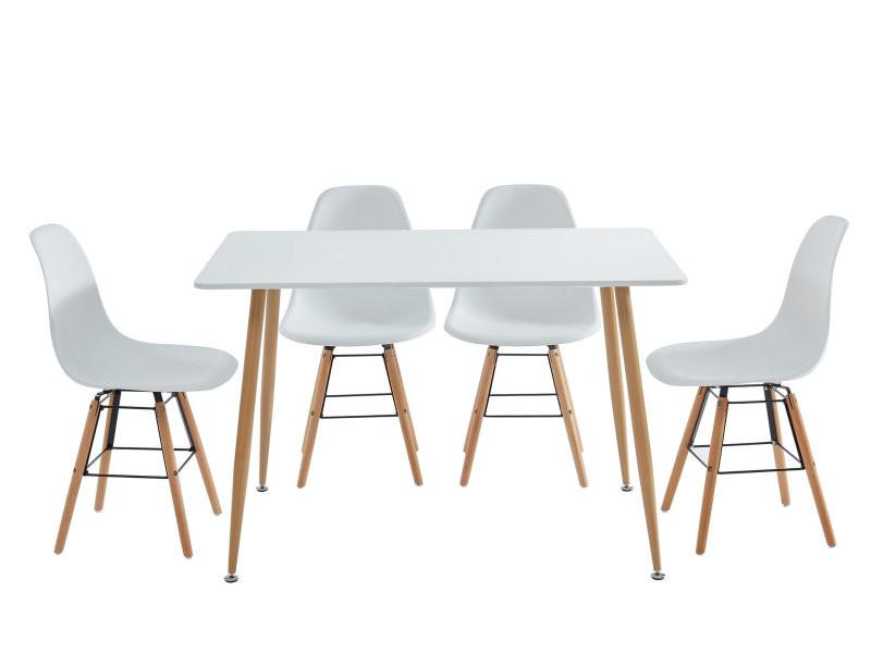 Kittos ensemble table à manger + 4 chaises - laqué blanc - l120cm KITTOS