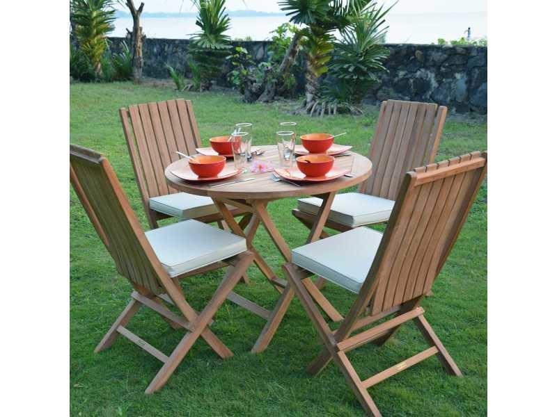 Table de jardin en teck pliable ø 90 cm - adomée Teck massif de qualité Ecograde©