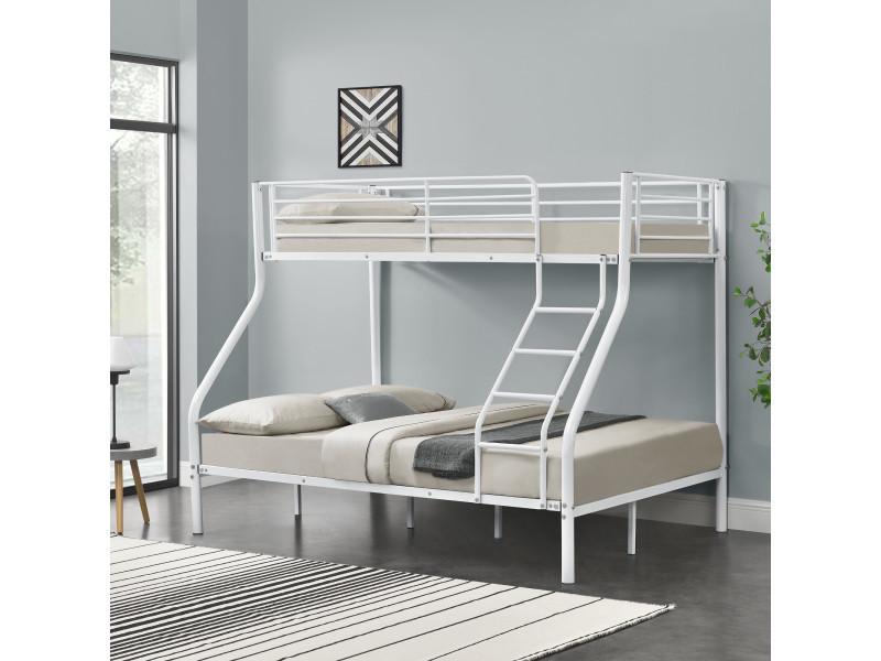 cadre de lit superpos en m tal armature massive pour 3 personnes 210cm x 147 5cm x. Black Bedroom Furniture Sets. Home Design Ideas