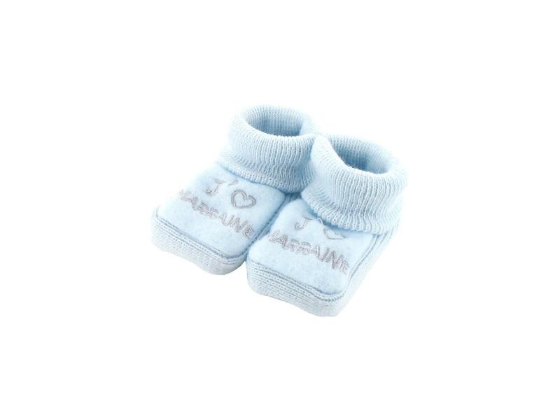 a016c3ecd57f4 Chaussons pour bébé 0 à 3 mois bleu - j aime marraine - Vente de ...