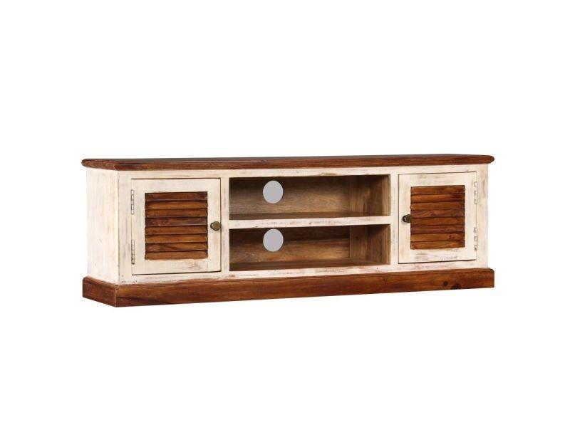 Meuble télé buffet tv télévision design pratique bois massif de manguier et sesham 120 cm helloshop26 2502172