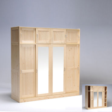 armoire morzine 4 4 portes avec 2 miroirs vernis naturel. Black Bedroom Furniture Sets. Home Design Ideas