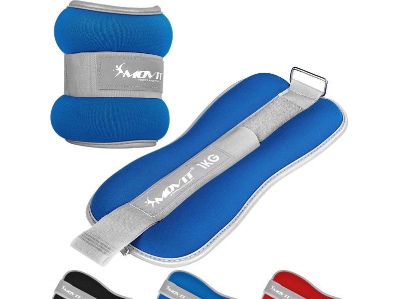 Movit® bandes lestées pour poignets et chevilles 2x0,5kg à 2x3kg, néoprène disponible en noir, bleu ou rouge - couleur : bleu + tissu éponge - poids : 2 x 1,0kg
