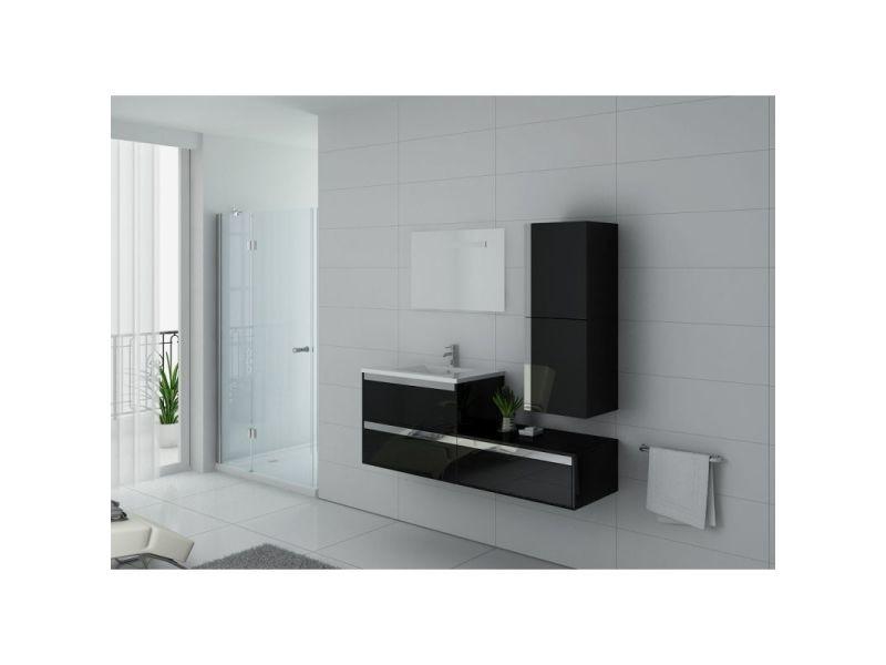 Meuble de salle de bain simple vasque sublissimo noir - Meuble vasque salle de bain conforama ...