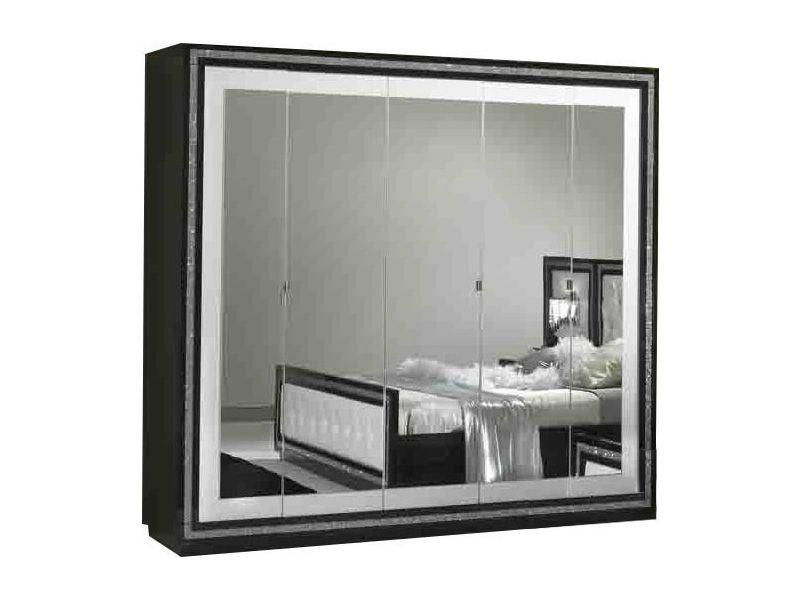 Armoire 225x210 cm à 5 portes-miroirs et décor strass coloris noir et blanc  p-7138-co krista - Vente de Dressing - Conforama b5422674d5f7