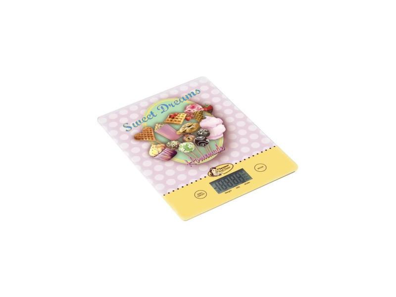 Bestron aks700sd balance de cuisine - design vintage sweet dreams - rose et jaune pastel