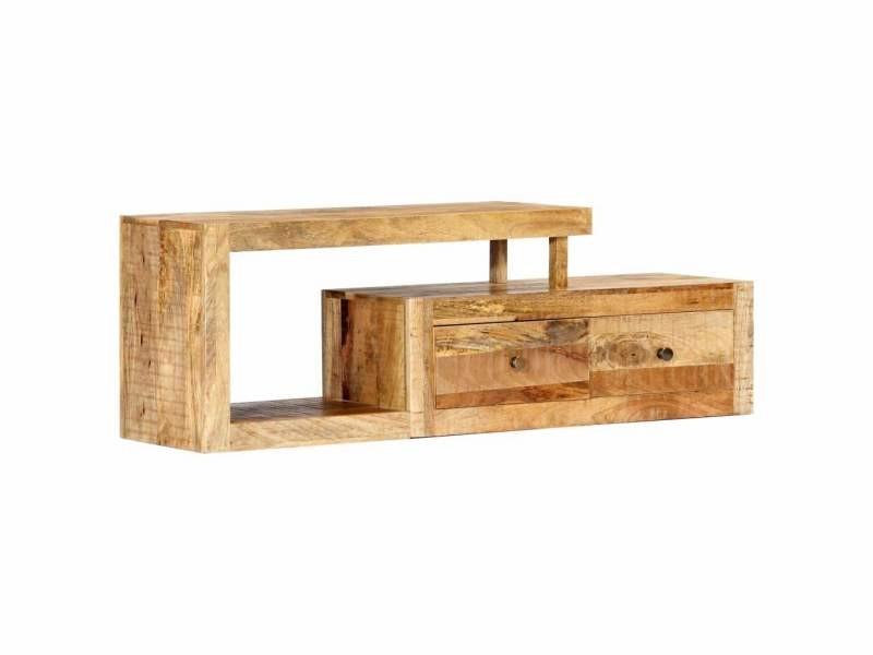 Meuble télé buffet tv télévision design pratique 120 cm bois massif de manguier helloshop26 2502274