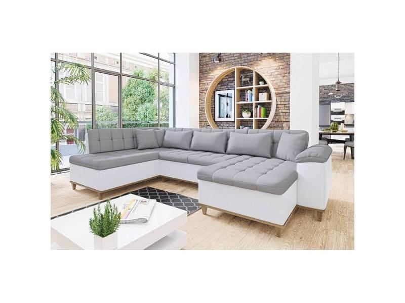 Mina - canapé d'angle convertible en tissu gris et blanc- angle droit