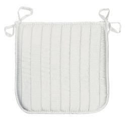 Coussin galette de chaise jacquard rayure blanc 40 x 40 cm