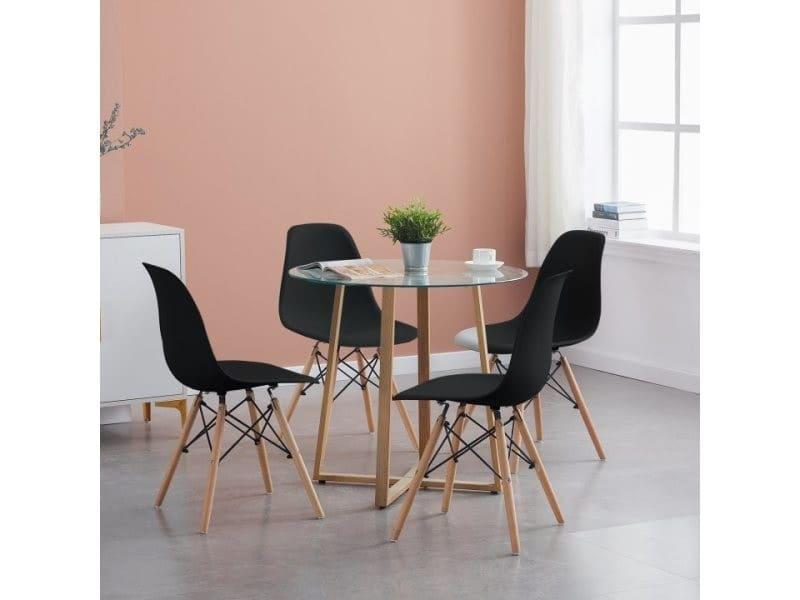 Lot de 4 chaises design tendance r¨¦tro bois chaise de salle ¨¤ manger - noir