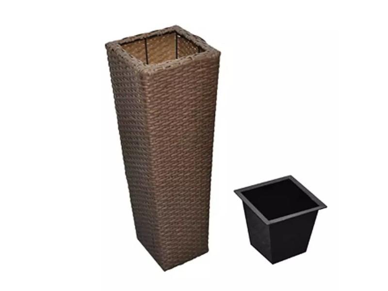 Icaverne - pots et cache-pots reference cache-pots en résine tressée marron chocolat (lot de 3)