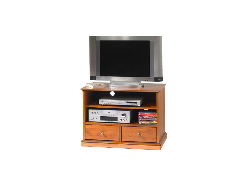Meuble tv louis philippe 2 tiroirs en finition merisier - florie