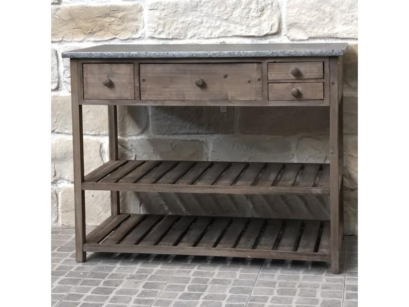 Style ancienne table de rempotage de jardin bois zinc 102 cm ...