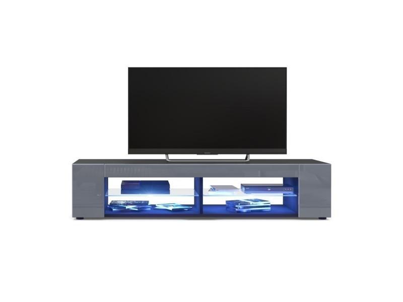 Meuble tv corps noir mat façades en gris laquées led bleu