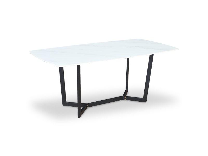 Table harissa en verre effet marbre blanc