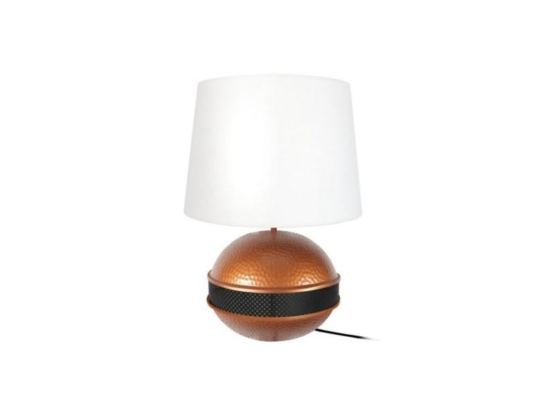 Saigon Big Lampe A Poser Acier 40x40x60cm Cuivre Noir Conforama