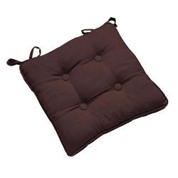 Galette de chaise à boutons 38x38 brun chocolat