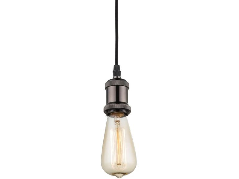 Suspension industrielle à ampoule apparente simple noire en métal ...