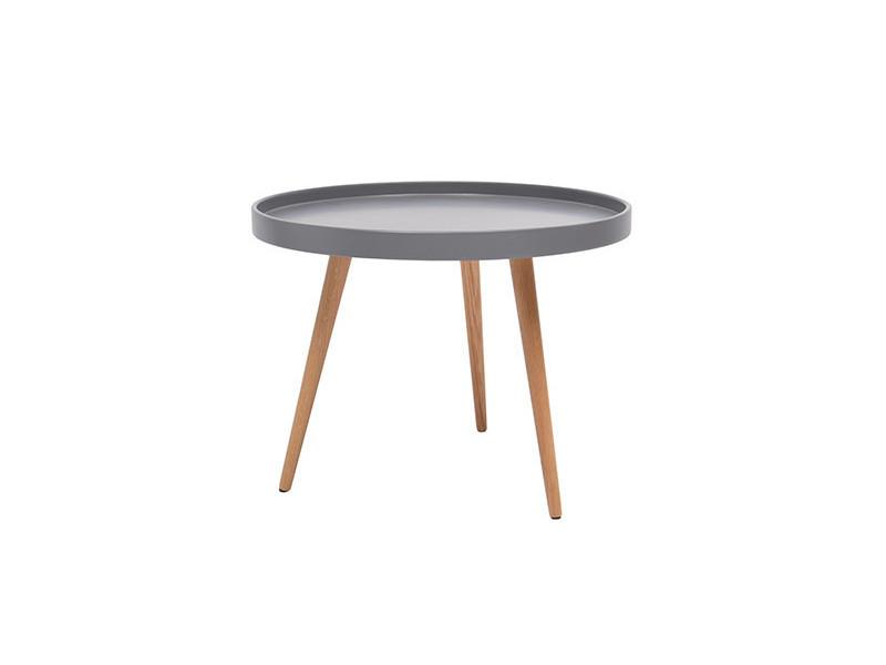 Table basse ronde 60diam en bois gris