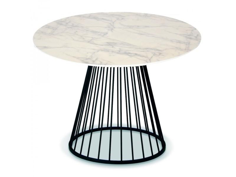Table ronde salle à manger façon marbre blanc et métal noir