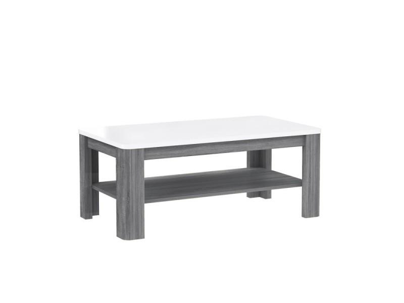 Table basse rectangulaire plateau laqué blanc et piétement bois gris - alexiane