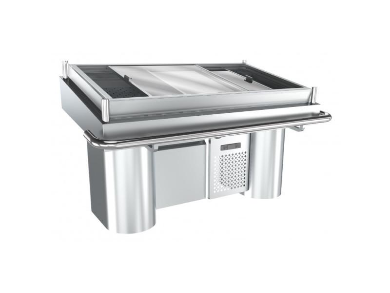 Comptoir réfrigéré à poisson en inox - l 1700 mm - combisteel -