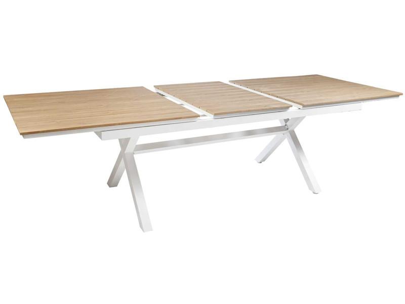 Table extensible de jardin en aluminium et texaline, blanc/teck - dim : 200/260 x 100 x 75cm -pegane-