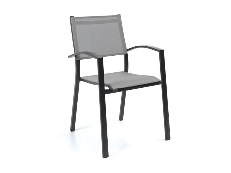 Chaise en alu anthracite textilène gris clair adon